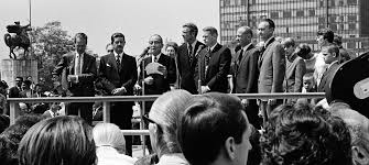 UN Secretary General U Thant speaks outside UN Headquarters with the Apollo 11 astronauts (right to left) Collins, Aldrin and Armstrong. Image Credit: UN Photo