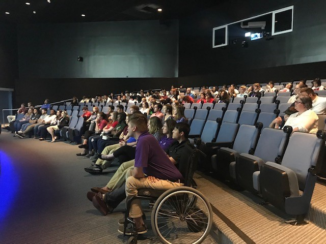 Interns listen in rapt attention during the STEM Pathways to Aerospace panel discussion at Space Center Houston. Image Credit: NASA