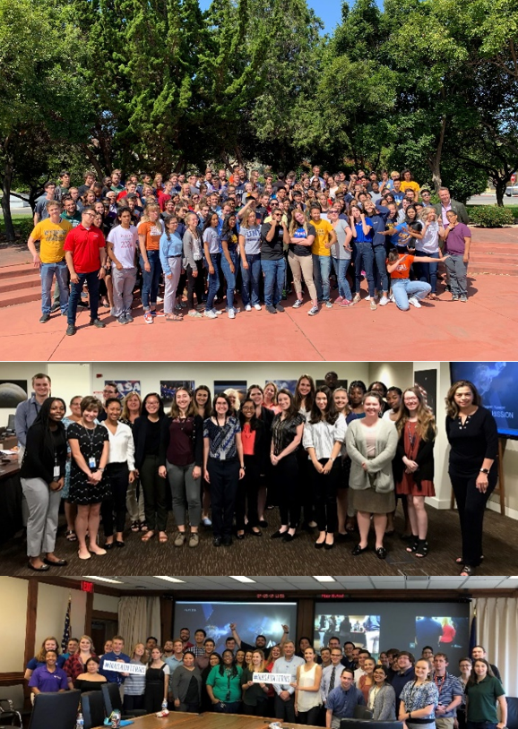 Interns (top to bottom) from NASA's Ames Research Center, Headquarters and Johnson Space Center congregate to take part in a special