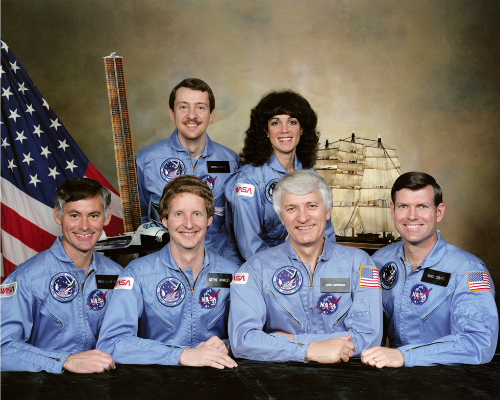STS-41D crew photo (front, left to right): R. Michael Mullane, Steven Hawley, Henry Hartsfield and Michael Coats; (back, left to right) Charles Walker and Judith Resnik. Image Credit: NASA