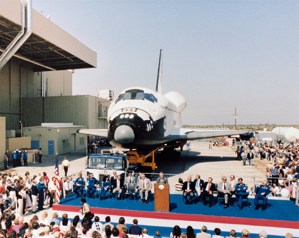 Space Shuttle Discovery rolls out of Rockwell's Palmdale facility. Image Credit: NASA