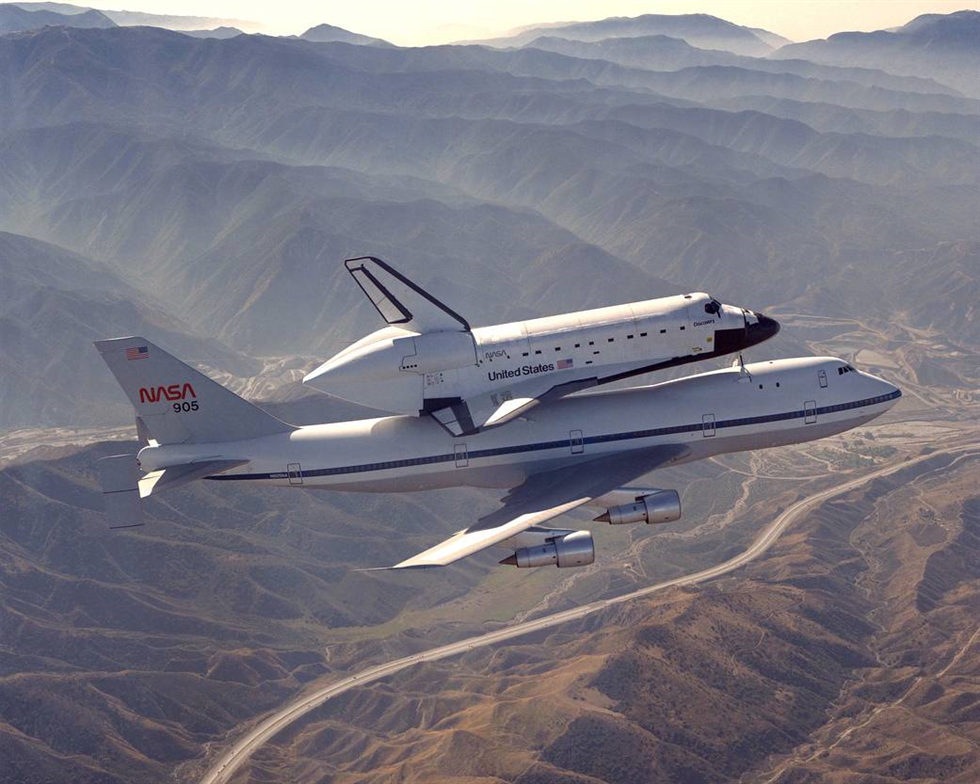 Discovery atop the SCA during the cross-country ferry flight. Image Credit: NASA