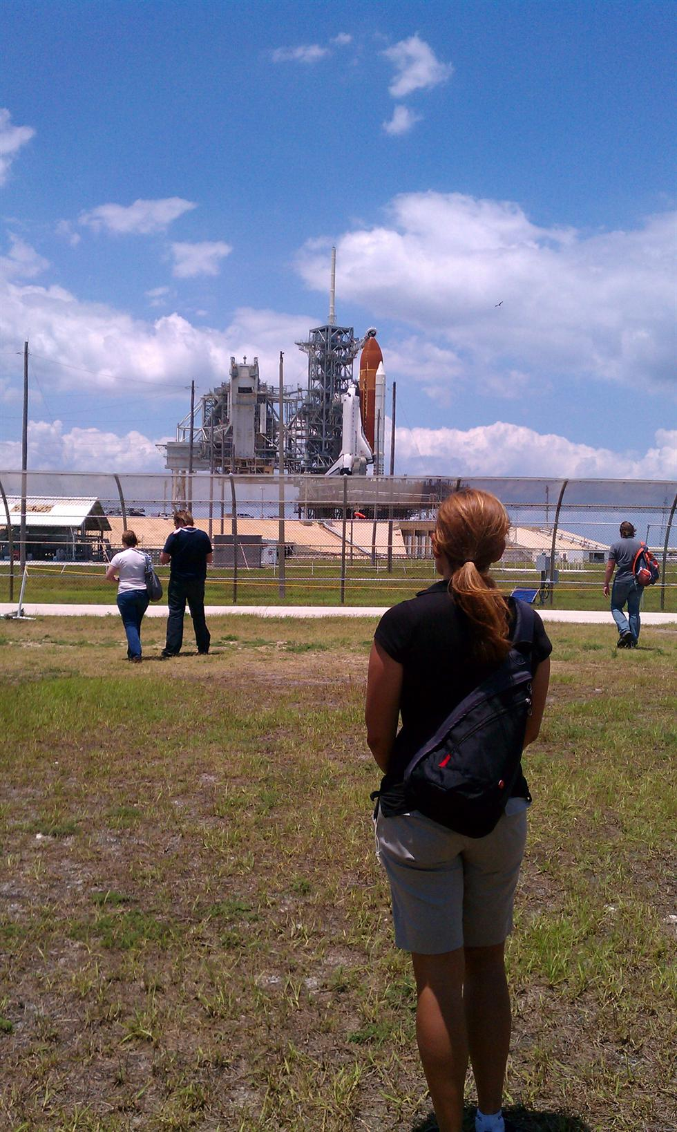 Miralles taking in the last space shuttle launch at Kennedy Space Center in 2011. Image courtesy of Miralles.