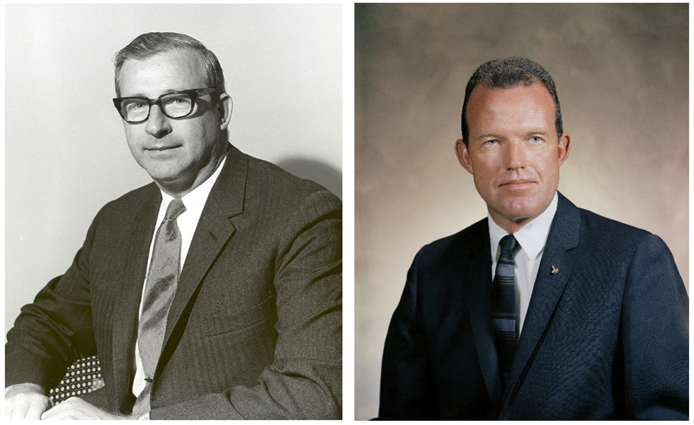 Left: NASA Administrator Thomas Paine. Right: Astronaut L. Gordon Cooper. Credits: NASA