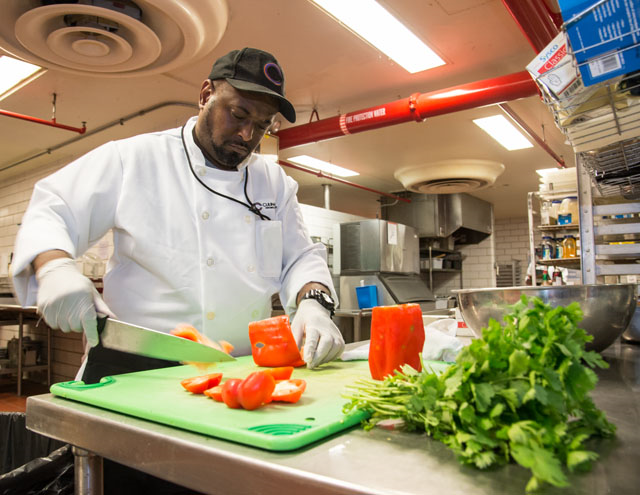 A CulinART chef prepares a fresh selection for JSC team members. Image Credit: NASA/Robert Markowitz